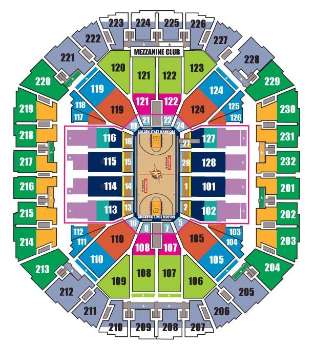 Basketball Seating Warriors Chart